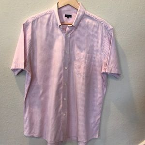 Pink/ white button down short sleeve shirt